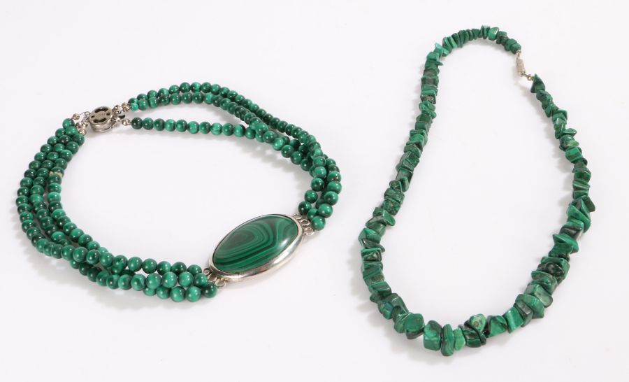 Silver and Malachite necklace, three rows of malachite together with another malachite necklace in