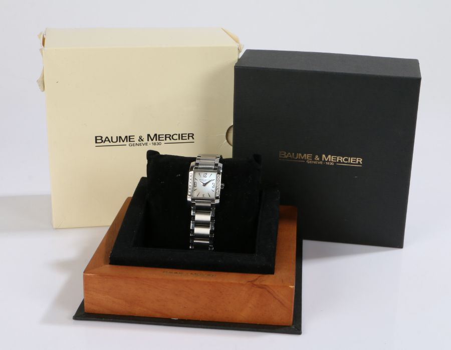 Baume & Mercier ladies stainless steel and clear paste set wristwatch, the signed mother of pearl