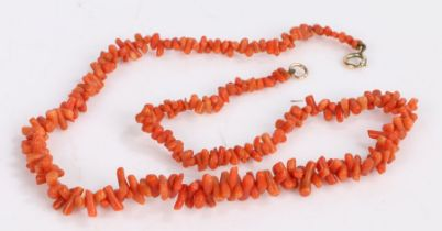 Coral necklace shaped of cylindrical pieces of coral, length 45cm