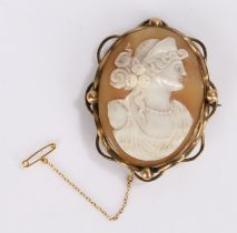 Cameo brooch, of large size, carved with a classical figure, 75mm long