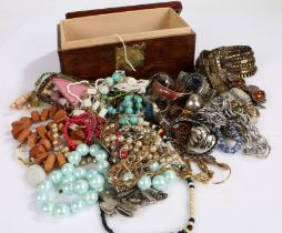 Collection of costume jewellery to include necklaces, bracelets and a watch housed in wooden box (