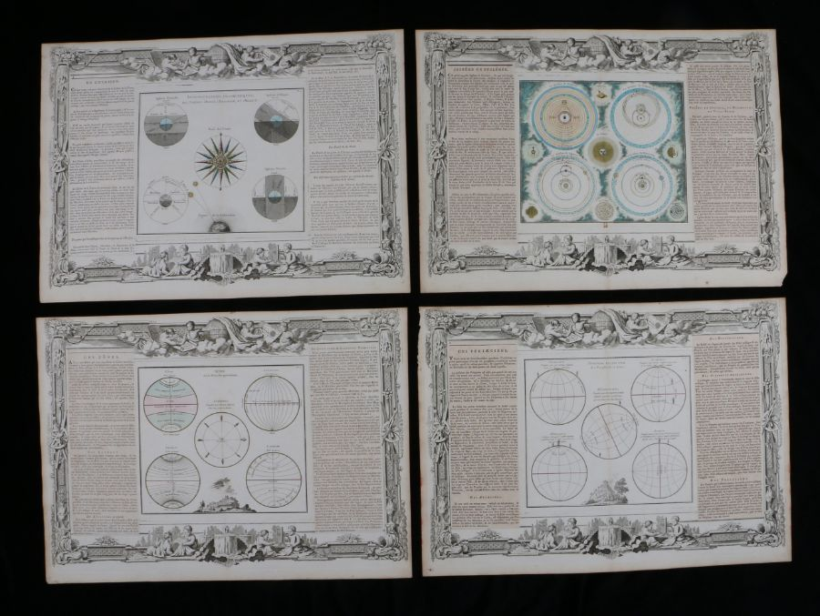 """Four French astrological documents with central depictions of the paths of the planets, """""""