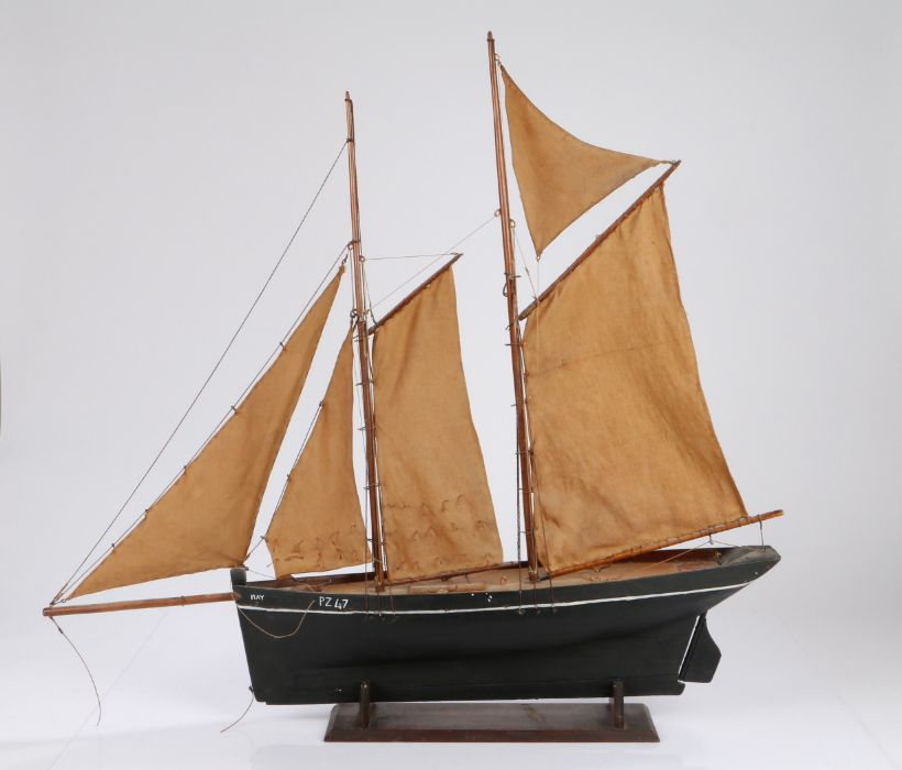 """Model of a Penzance fishing topsail schooner smack, """"May PZ47"""", on a mahogany stand, 74cm wide, 70cm"""