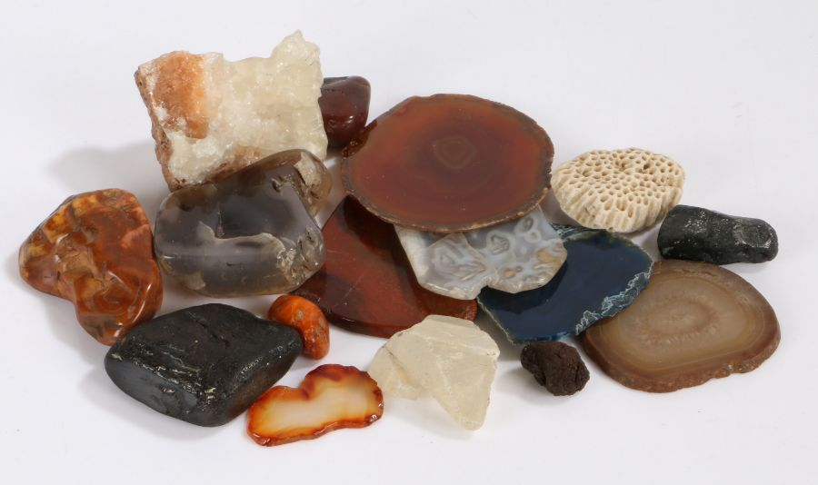 Collection of quartz, rock and coral samples, some polished (qty)