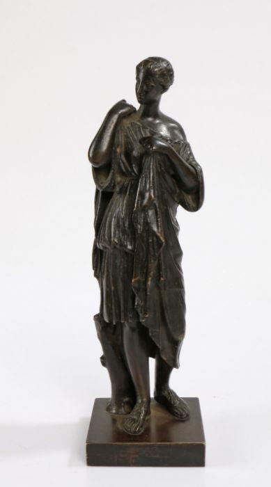 19th Century Grand Tour bronze figure depicting Diana of Gabii, 27cm high