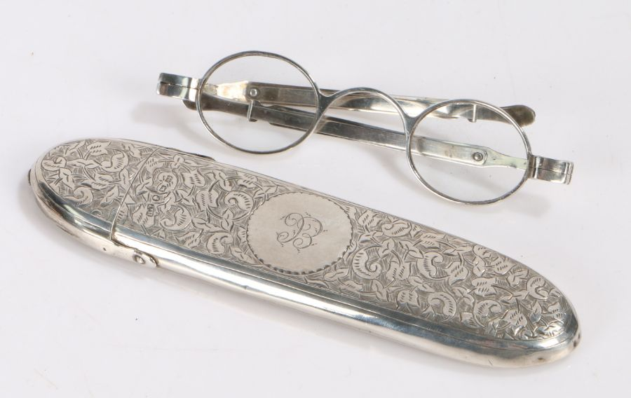 Victorian silver spectacles case, Birmingham 1889, makerHilliard & Thomason, the case with engraved