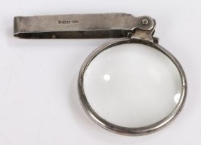 Silver mounted folding pocket lens, Birmingham 1914, maker Chrisford & Norris, the circular lens
