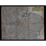 """Hollar Wenceslaus, coloured map engraving, """"The Mappe of Norfolke, Suffolke, Cambridgeshire..."""""""