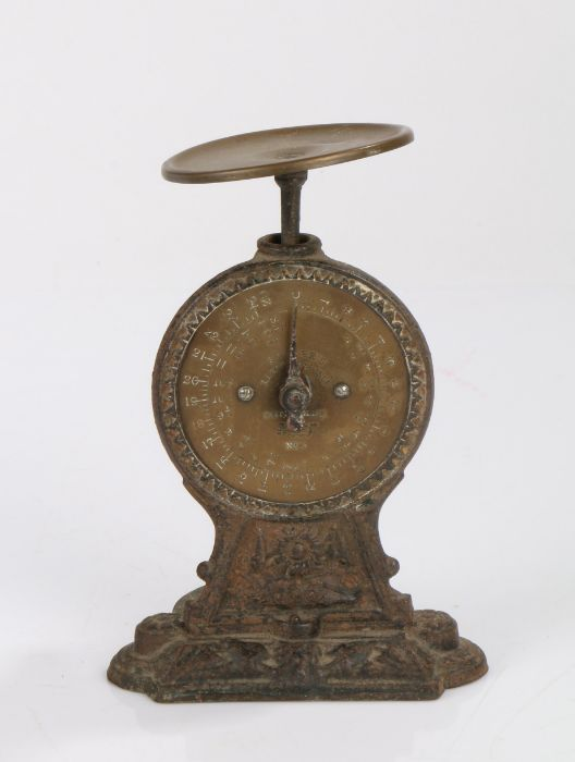 Salter's letter balance scales, the brass pan and dial on a cast iron frame, 12.5cm wide, 19cm high