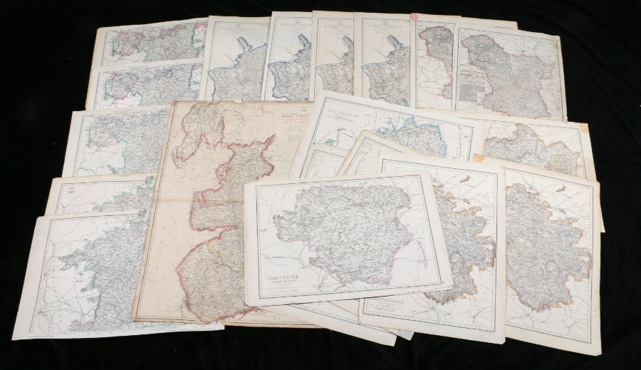 Collection of twenty British county maps, to include The Dispatch Atlas, Monmouthshire,