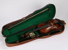 """20th Century violin, the interior with label """"Re-constructed by W Vaus Hackney London May 1926"""","""