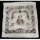 His Grace the Duke Of Wellington silk shawl, with central depiction of Wellington surrounded by