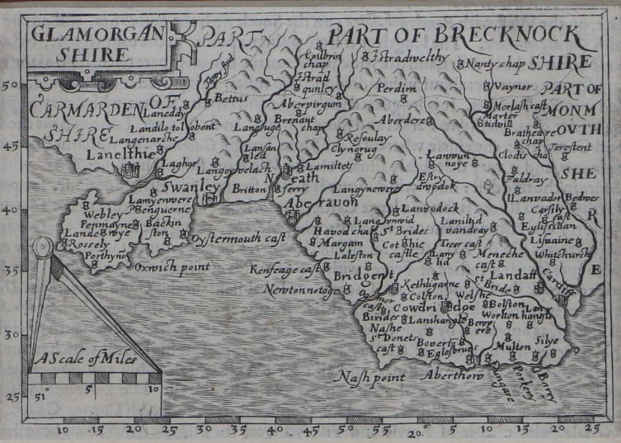 John Bill, map engraving, Glamorganshire, circa 1626, the first county maps to have longitude and