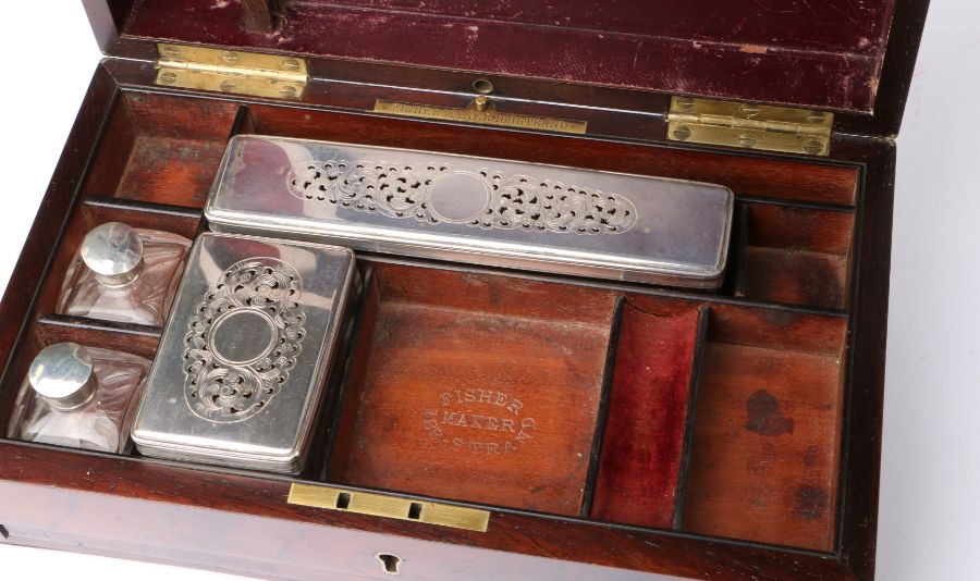 Victorian walnut and brass banded vanity box, the hinged lid with brass cartouche engraved with a - Image 2 of 2