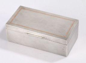 Edward VIII silver cigarette box, Sheffield 1936, maker Walker & Hall, the engine turned lid with