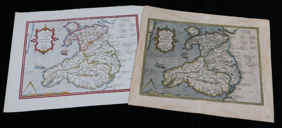 Humphry Lloyd original coloured map engraving of Wales, 56.5cm x 48cm, later reproduction of the