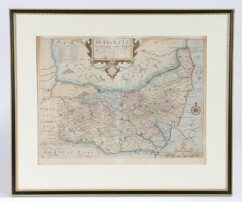 """Christopher Saxton, an early 17th century hand-coloured map engraving, """"Suffolclae comitatus cuius"""