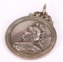 Victorian Scottish silver Royal Academy fencing medal, Edinburgh makerJames Nasmyth & Co, the medal