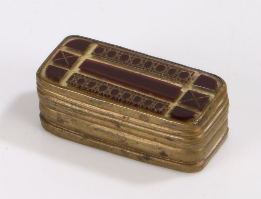 Victorian brass and purple glass mounted snuff box, the geometric decorated purple and clear glass