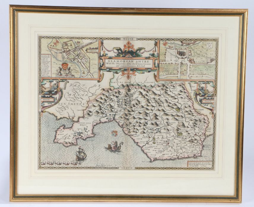 """John Speede, coloured map engraving, """"GLAMORGAN SHYRE With the fittuations of the chiefe towne"""