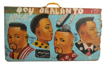 West African double sided hair dresser sign, Mali, circa 1990, the first side in red with U.S.A.