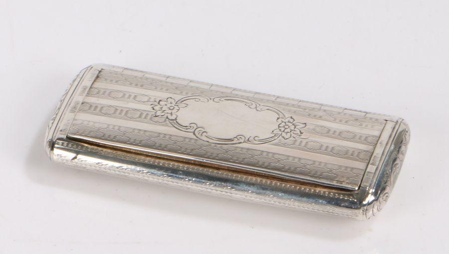 Victorian silver snuff box, Birmingham 1851, maker Nathaniel Mills, the engine turned exterior