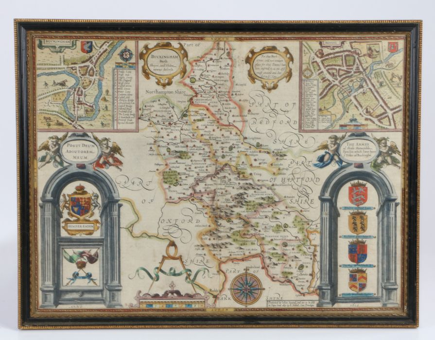 John Speed, circa 1610, Buckingham both Shyre and Shire towne described', dated 1610, the double - Image 3 of 4