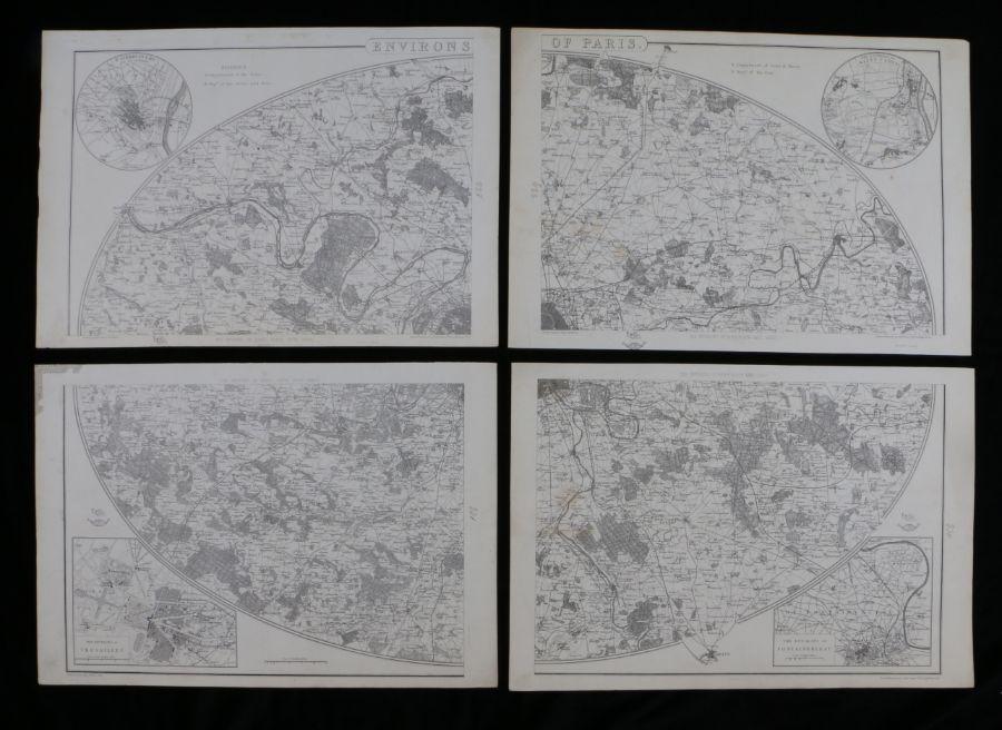 E Weller, the Environs of Paris, four sheet map (4)