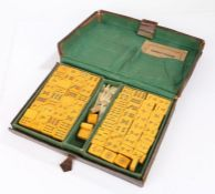 """Chinese """"Four Winds"""" Mahjong game, the leather case opening to reveal five interior trays containing"""