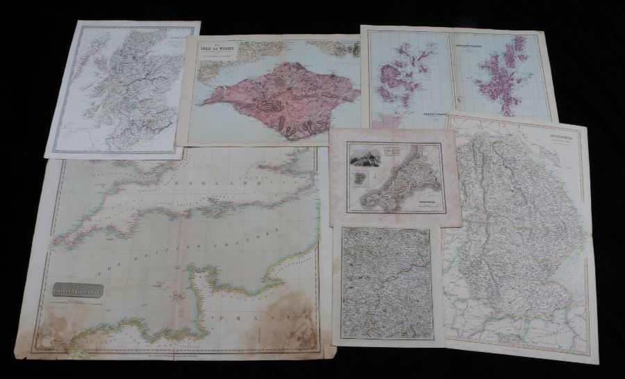 J & C Walker coloured map, Scotland, county maps to include Cornwall, Isle of Wight, Shetland and