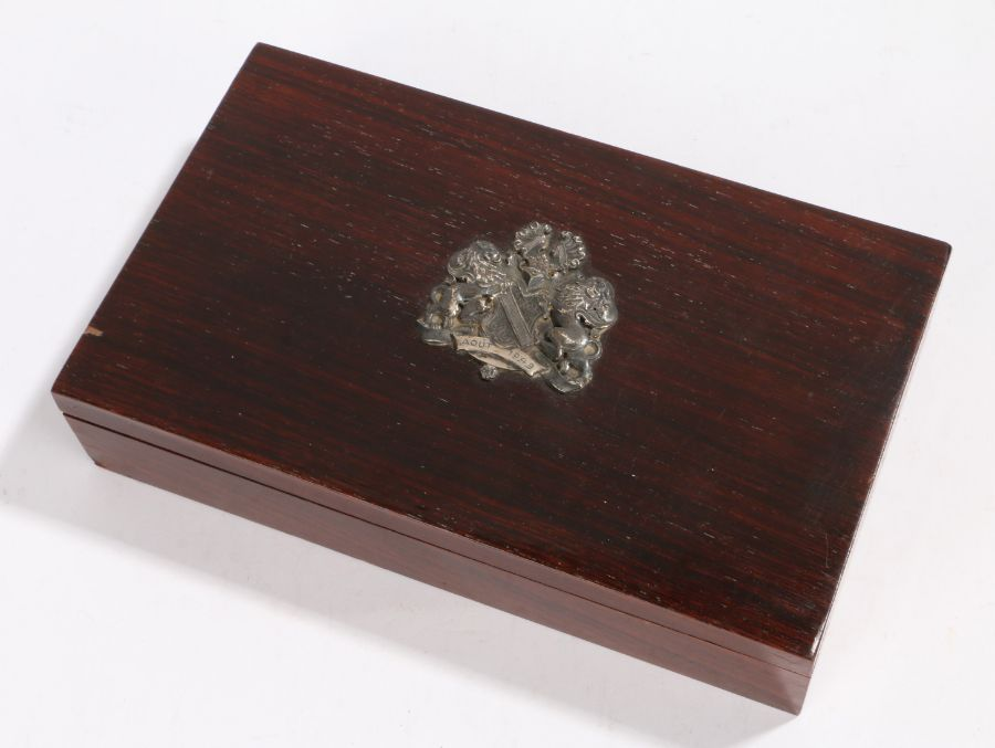 Ernest Bevin interest, a presentation rosewood cigar box, with a crest to the lid of the box dated