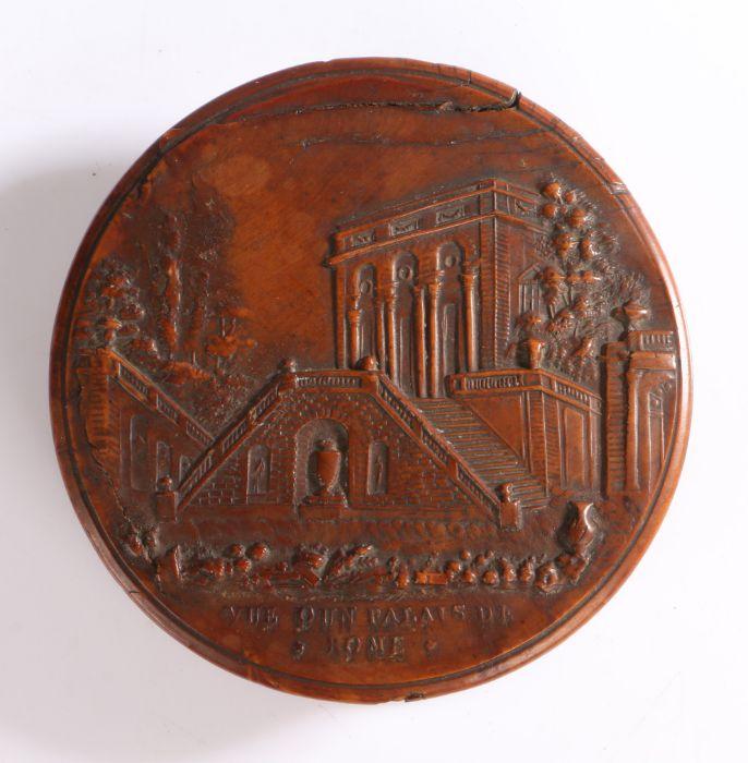 "19th Century pressed wood snuff box, the circular cover with Italianate landscape scene inscribed """