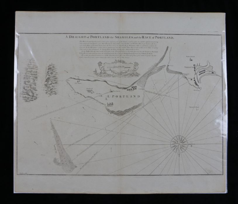 """Dunbar, map engraving """"A DRAUGHT OF PORTLAND THE SHAMBLES AND THE RACE OF PORTLAND"""", 62cm x 53cm"""