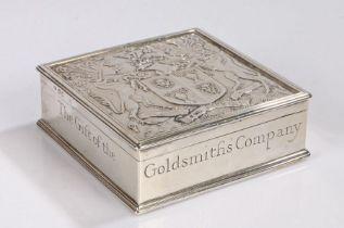 The Worshipful Company of Goldsmiths, a silver cigarette box, by Sebastian Garrard, London, square