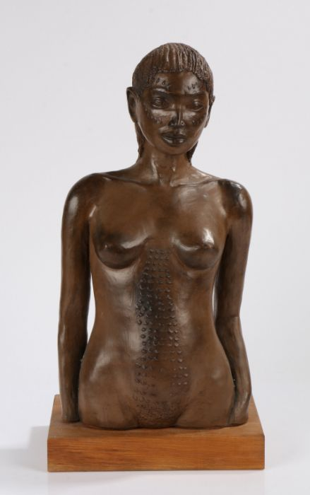 Ethiopian cast metal sculpture, depicting a female head and torso, mounted on an oak plinth base,