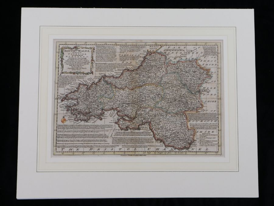 Eman and Thomas Bowen, original coloured map engraving, South Wales Divided into it's Counties,