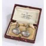 Pair of Victorian fox teeth set cufflinks, the silver foliate engraved face assayed for Birmingham