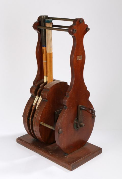 Unusual early 20th Century tennis racket press, with adjustable mahogany dividers, a cast iron