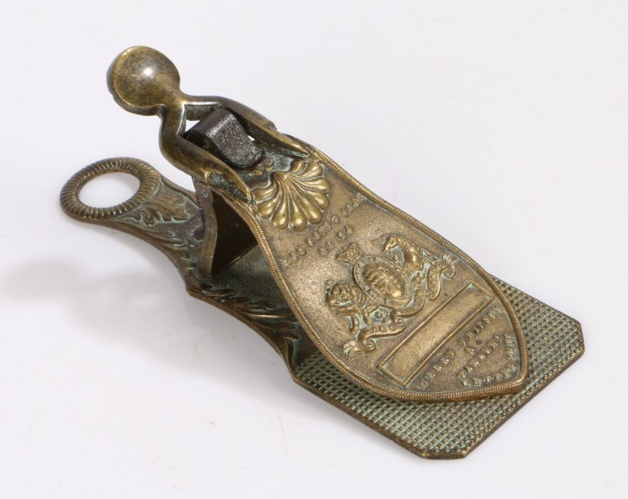 """19th Century Merry Phipson & Parkers Letter Clip, cast """"REG OCTR 3 1843 no. 24"""", with royal crest,"""