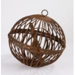 19th Century ships gimbal lamp, the orb cage exterior housing the gimballed lamp, 34cm diameter