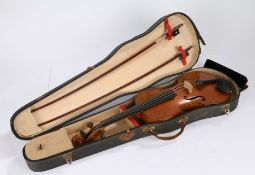 E. Schmidt & Co violin, Antonius Stradivarius copy, labelled to interior, 60.5cm long, together with