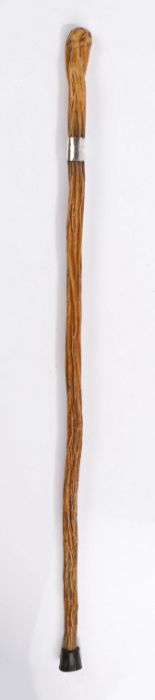 New Zealand interest, a walking cane with a silver collar with ROTURUA NZ 1893, 84cm long