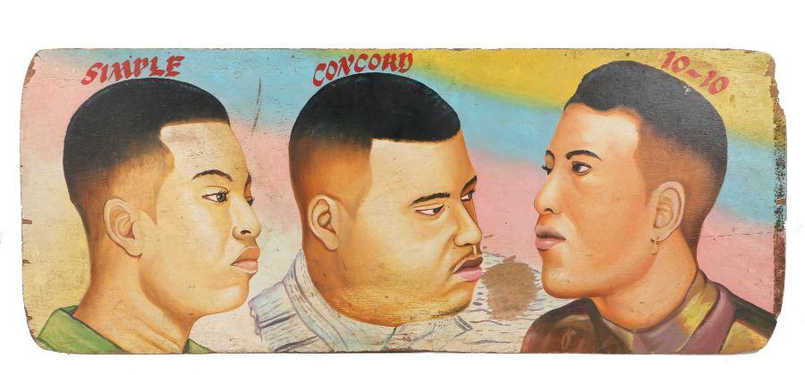 West African hair dresser sign, City Boys Studio Kumasi, Ghana, circa 1990, with the hair styles