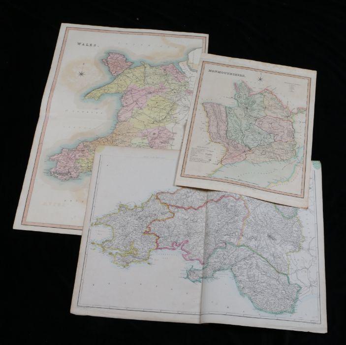 Henry Teesdale, original coloured map engraving, Monmouthshire, T.L. Murray, original coloured map