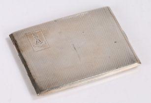 George VI silver cigarette case, Birmingham 1938, maker F H Adams & Holman, the engine turned