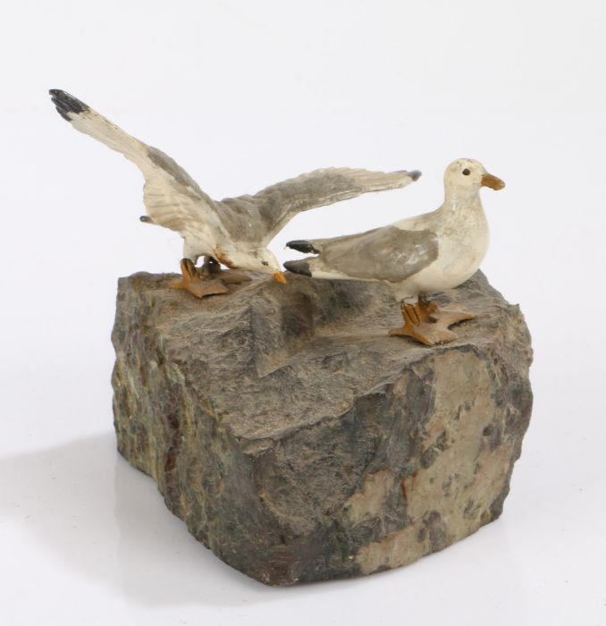 Early 20th Century cold painted bronze depiction of two seagulls on a rock outcrop, one with wings - Image 2 of 2