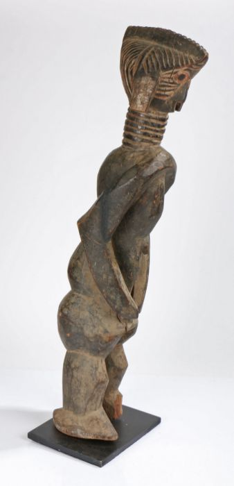 Sierra Leone Mende standing figure, the head with carved linear decorations, above a ringed neck, - Image 2 of 2