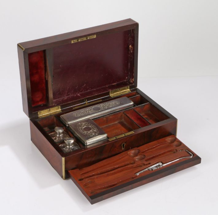 Victorian walnut and brass banded vanity box, the hinged lid with brass cartouche engraved with a