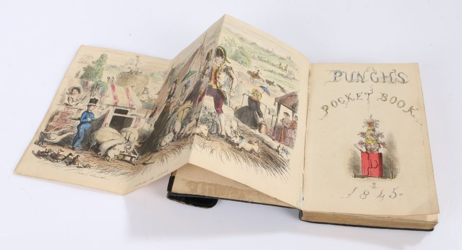 """Punch's Pocket Book for 1845, """"containing ruled pages for cash accounts and memoranda for every"""