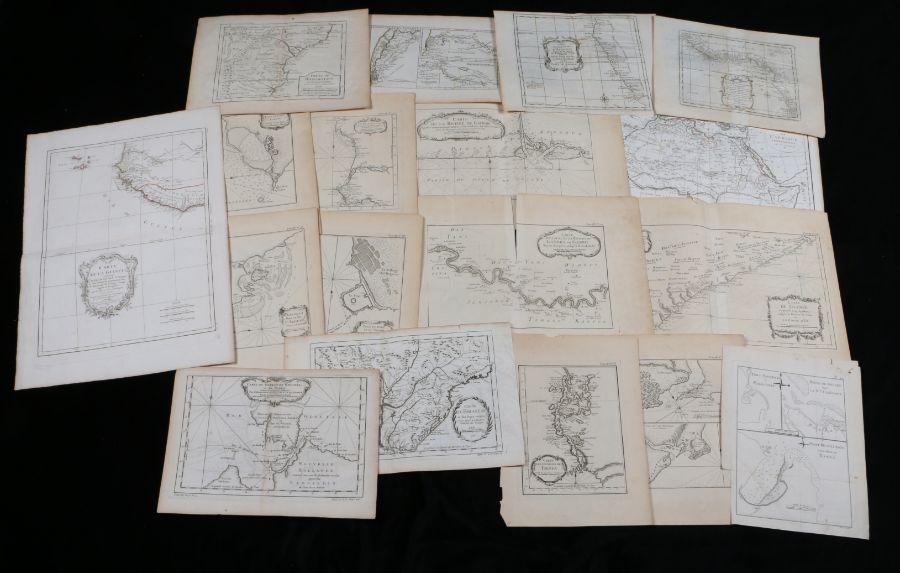 """Collection of French engraved maps, to include """"Carte de la Guinee"""", """"Carte du Detroit de Waeigats"""